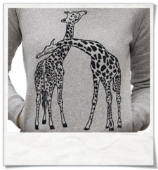 Giaffe / Giraffen / Frauen kapuzenpullover / Damen Shirt / Fair trade & Bio in grau