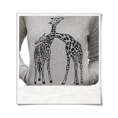 Giaffe / Giraffen / Frauen kapuzenpullover / Damen Shirt / Fair trade & Bio in grau