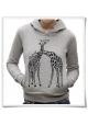 Giaffe / Giraffen / Liebe / Frauen kapuzenpullover / Damen Shirt / Fair trade & Biobaumwolle in grau