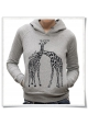 Giraffes in love / women Hoodie / Grey / Fair and Organic