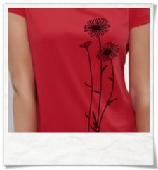 Größentabelle / Blumen / Frauen T-Shirt / Rot / Fair und Bio