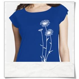 Blumen T-Shirt / Königsblau