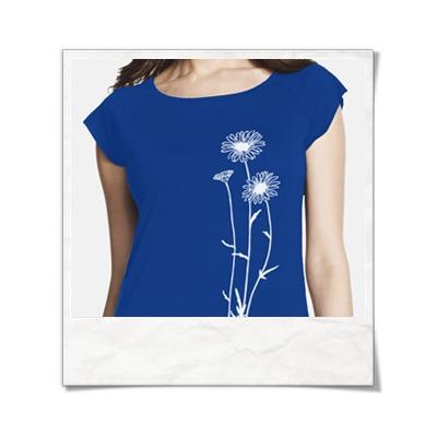 Blumen / Frauen T-Shirt / Blau / Fair und Bio