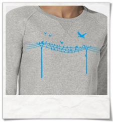 Birds on wire / women Sweatshirt / Grey / Fair and Organic