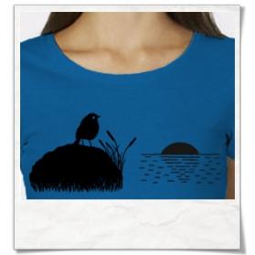 Vogel bei Sonnenuntergang T-Shirt / Königsblau