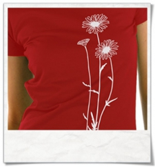Flowers T-Shirt in Darkred and white