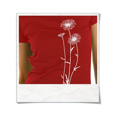 Snail and Butterfly in love / women T-Shirt / Red / Fair Organic and Eco