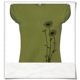 Blumen T-Shirt / Grün