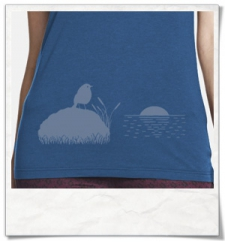 The Bird & The Sunset / women T-Shirt / Blue / Fair and Organic