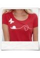 Liebe zwischen Schnecke und Schmetterling / Frauen T-Shirt / Rot / Fair und Bio