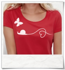 Schnecke & Schmetterling T-Shirt in Rot