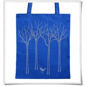 Baumwolltasche Vogel im Wald / Blau