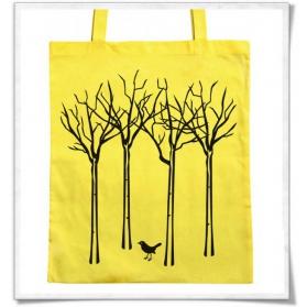 Baumwolltasche Vogel im Wald / Gelb