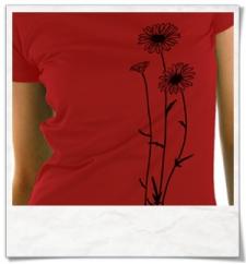 Blumen T-Shirt in Rot & Schwarz aus Bio-Baumwolle