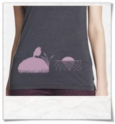 The Bird & The Sunset / women T-Shirt / Grey / Fair and Organic