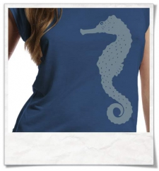 Seahorse / women T-Shirt / Blue / Fair and Organic