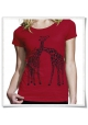 Giaffe / Giraffen / Frauen T-Shirt / Damen Shirt / Fair trade in rot