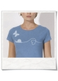 Damen T-Shirt Schnecke und Schmetterling