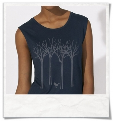 The bird in the forest women sleeveless tee