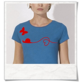Butterfly and Snail T-Shirt in Blue