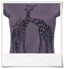 Frauen T-Shirt Giraffe / Giraffen Fair Wear in Lila