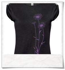 Blumen T-Shirt in Schwarz