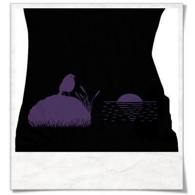 Vogel bei Sonnenuntergang Langarm T-Shirt