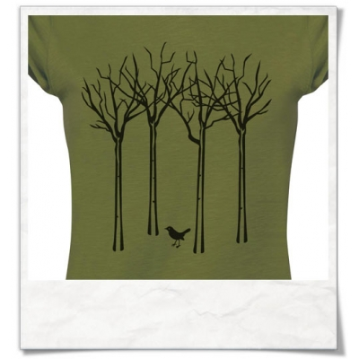T-Shirt Vogel im Wald für Frauen in grün