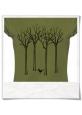 T-Shirt Vogel im Wald in grün