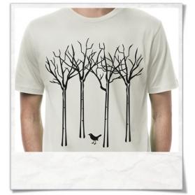 Vogel im Wald T-Shirt in grau