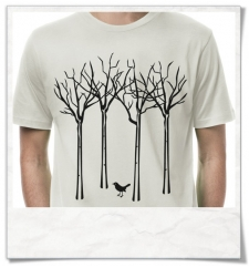 The bird in the forest / men's T-Shirt / Gray / Fair and organic