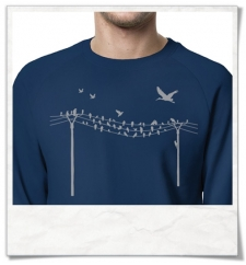 Sweatshirt Birds on wire ( organic cotton and fair produced )