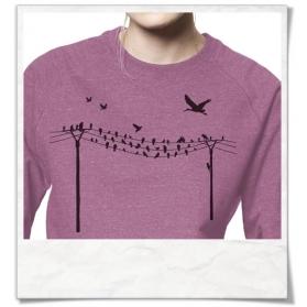 Sweatshirt Vögel auf Strommast aus Biobaumwolle