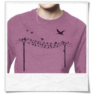 Sweatshirt Birds on wire for women ( organic cotton and fair produced )