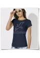 Frauen T-Shirt Möwe / Möwen in blau aus Biobaumwolle