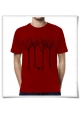 Männer T-Shirt Vogel im Wald in rot aus Biobaumwolle