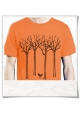 Men's T-Shirt the bird in the forest in orange