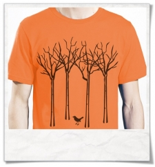 Organic Cotton T-Shirt the bird in the forest in orange
