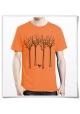 Männer T-Shirt Vogel im Wald in ornge aus Biobaumwolle