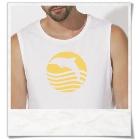 """Ärmelloses Männer T-Shirt """" Sonnenaufgang mit Delfin """" Biobaumwolle & Fair Wear in Weiß"""