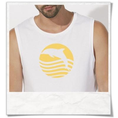 T-Shirt Delfin / Delphin Sonne Meer in weiss Männer T-Shirt
