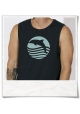 Sleeveless Tee Dolphin Sunset Sea for men in black