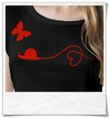 Snail and Butterfly in love / women T-Shirt / Black / Fair and Organic
