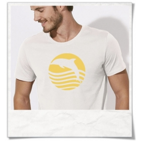 """T-Shirt """" Sonnenaufgang mit Delfin """" Biobaumwolle & Fair hergestellt"""