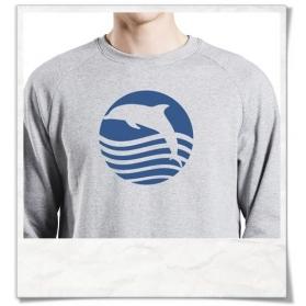 """Sweatshirt aus Biobaumwolle """" Sonnenuntergang mit Delfin """""""