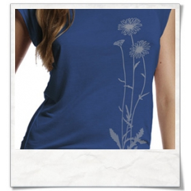 Blumen T-Shirt / Denim Blau
