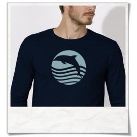 Herren Langarm T-Shirt Sonnenuntergang mit Delfin Biobaumwolle & Fair hergestellt
