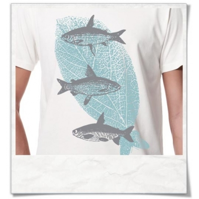 Flying Fishes / men T-Shirt / White / Fair Organic and Eco