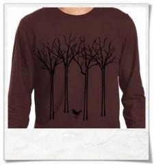 Vogel im Wald Langarm Männer T-Shirt / Braun / Fair und Bio-Baumwolle