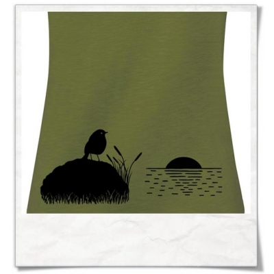 Vogel bei Sonnenuntergang, Frauen T-Shirt Fair und Biobaumwolle in Grün